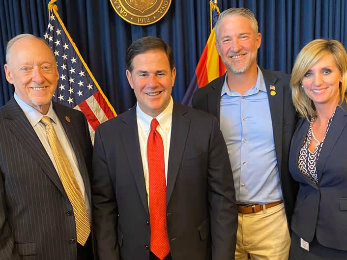 Senate Majority Leader Rick Gray, Governor Doug Ducey, Vice Mayor Judd and Jodi Tas.