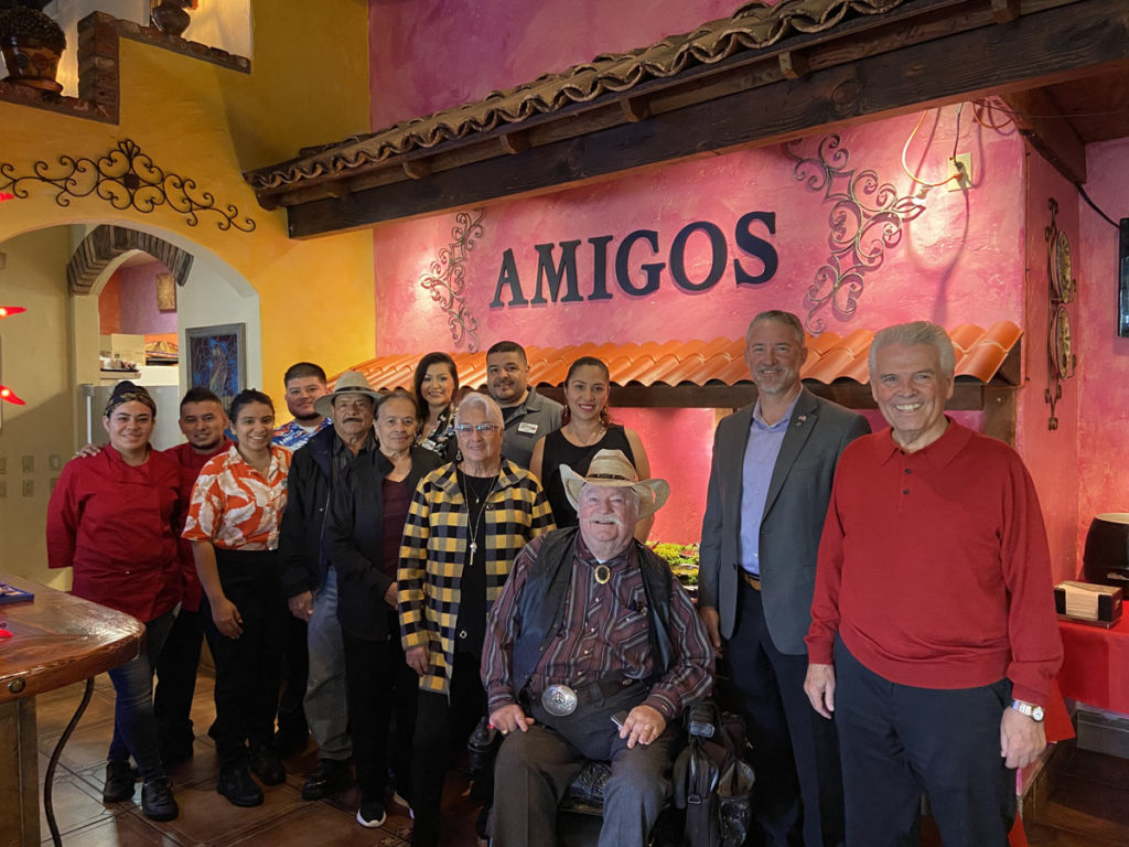 Mayor Hall, Vice Mayor Judd, Councilmember Winters, Councilmember Hayden and Amigos employees inside the newly opened restaurant.