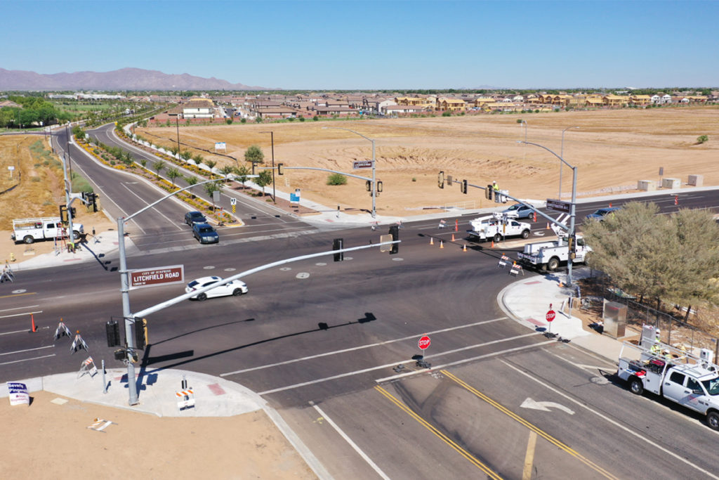An aerial view of the intersection of Litchfield Road and Sweetwater in Surprise.